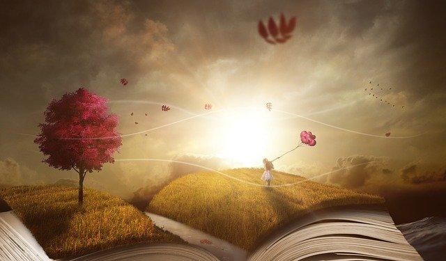 l'imagination, la lumière fait s'envoler les histoires dans un monde ou les feuilles des arbres sont roses