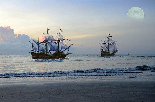 les bateaux du temps des pirates et le pirate Karaté